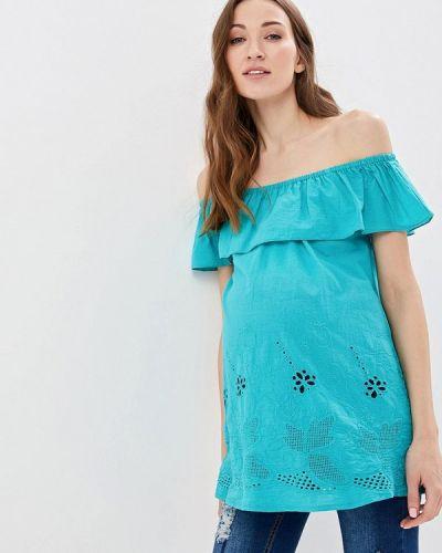 Блузка с открытыми плечами бирюзовая весенний очаровательная адель