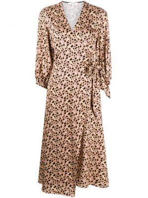 Коричневое асимметричное платье миди с V-образным вырезом из вискозы Chinti & Parker