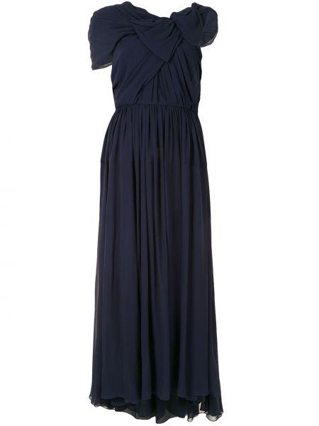 Niebieska sukienka mini rozkloszowana krótki rękaw Delpozo