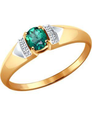 Кольцо с бриллиантом с изумрудом Sokolov