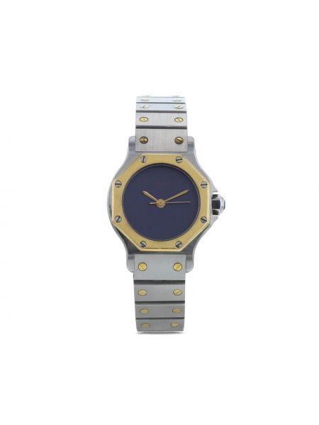 Пуховые часы золотые круглые Cartier