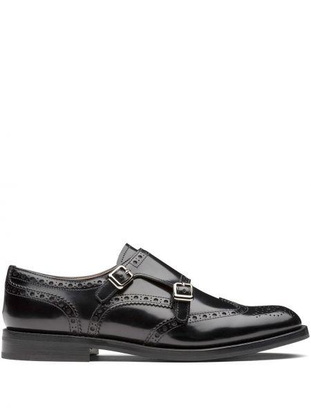 Czarny buty brogsy z prawdziwej skóry niskie obcasy z klamrą Churchs