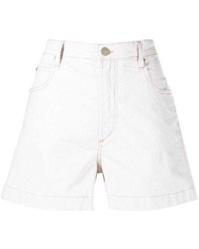 Льняные белые джинсовые шорты с карманами Isabel Marant étoile