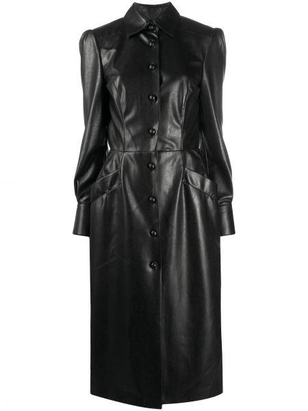 Классическое кожаное платье на пуговицах с воротником Ermanno Scervino