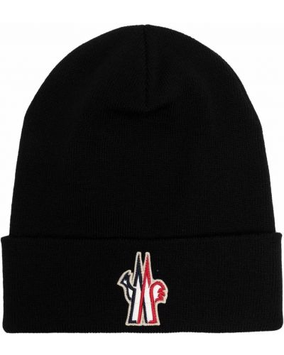 Czarna czapka prążkowana Moncler Grenoble
