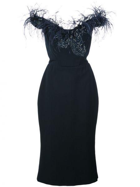 Шелковое синее платье миди с перьями Marchesa