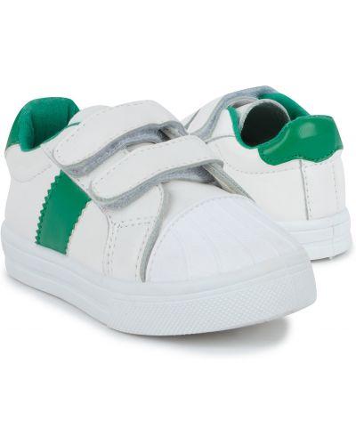 Брендовые зеленые кожаные полуботинки Kidix