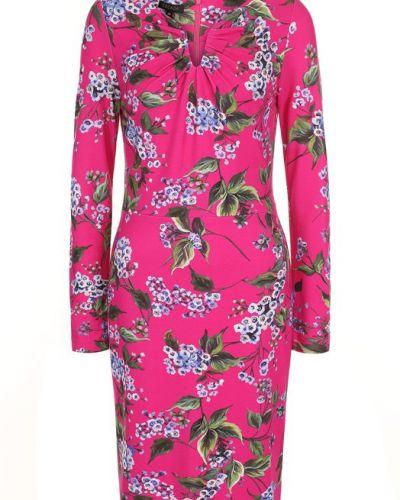 Платье миди розовое с цветочным принтом Escada