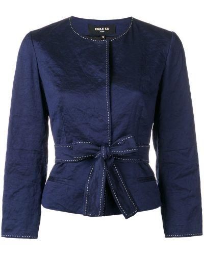 Приталенный синий пиджак с воротником Paule Ka