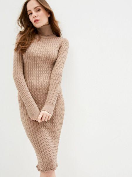 Коричневое вязаное платье Self Made