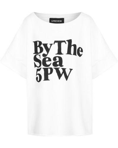 Свободная футболка с надписями с логотипом 5preview