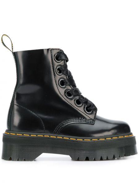 Ażurowy skórzany czarny buty na platformie zasznurować Dr. Martens