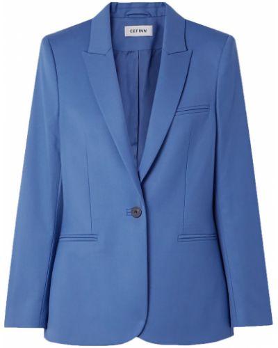 Шерстяной синий пиджак с карманами Cefinn