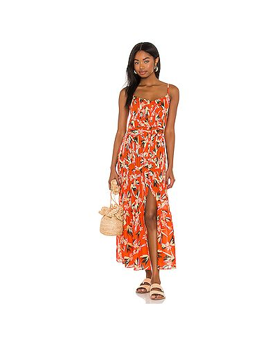 Хлопковое оранжевое платье макси в полоску Solid & Striped