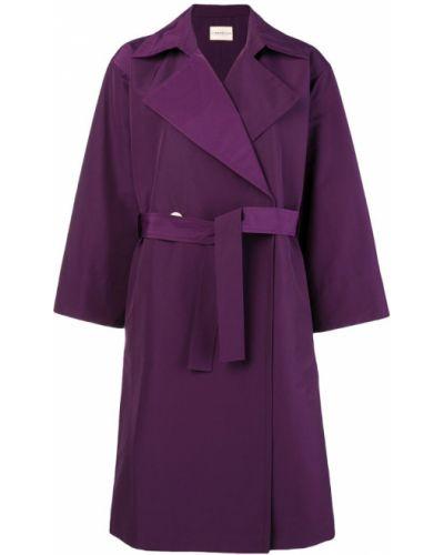 Шерстяное розовое длинное пальто с поясом Simon Miller