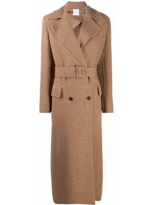 Шерстяное длинное пальто двубортное с воротником Agnona