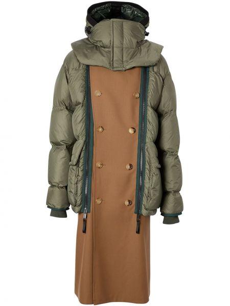 Zielony płaszcz wełniany z kapturem Burberry