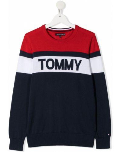 Хлопковый белый джемпер в полоску Tommy Hilfiger Junior