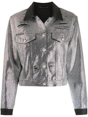 Джинсовая куртка длинная серебряная Philipp Plein