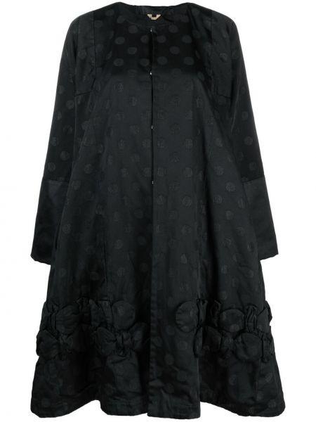 Расклешенное черное длинное пальто с вышивкой Comme Des Garçons Comme Des Garçons
