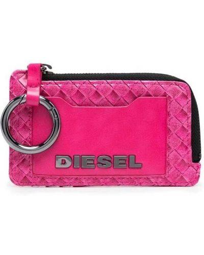 Розовый кожаный кошелек с тиснением Diesel
