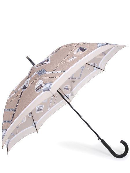 Зонт-трость с принтом складной Pollini