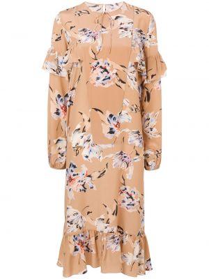 Sukienka midi w kwiaty elegancka rozkloszowana Rochas