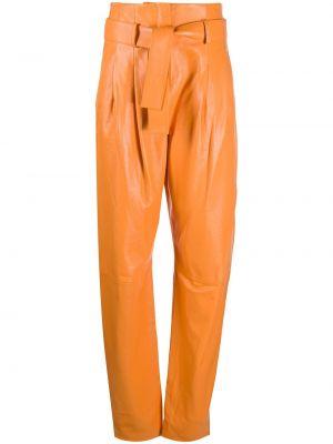 Spodnie z wysokim stanem skorzane z paskiem Wandering