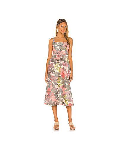 Шелковое розовое платье на молнии с оборками Parker
