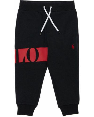 Czarny joggery elastyczny z haftem Ralph Lauren