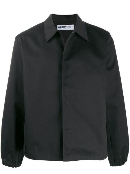 Klasyczna czarna długa kurtka bawełniana Affix