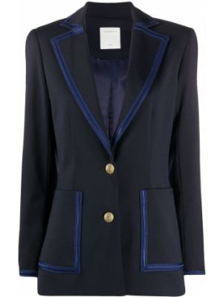 Приталенный синий удлиненный пиджак с карманами Sandro Paris