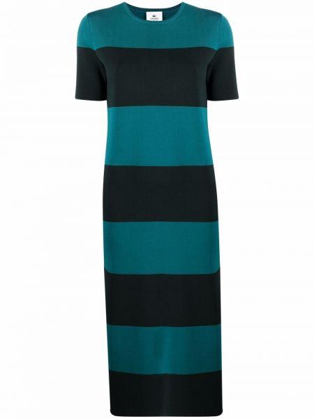 Zielona sukienka midi w paski z wiskozy Lacoste Live