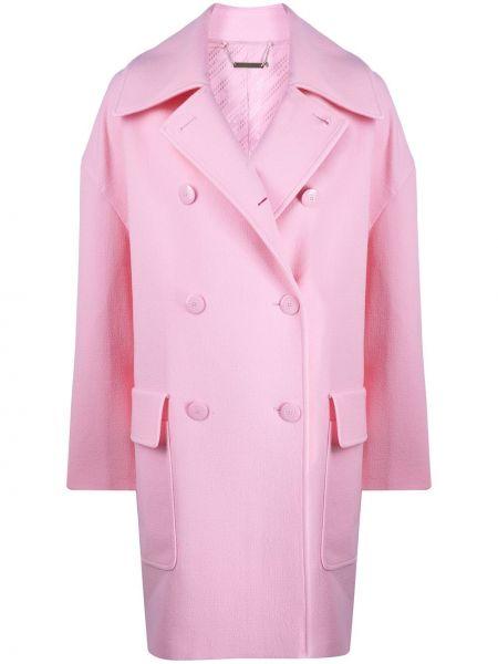 Розовое шерстяное длинное пальто с капюшоном Givenchy