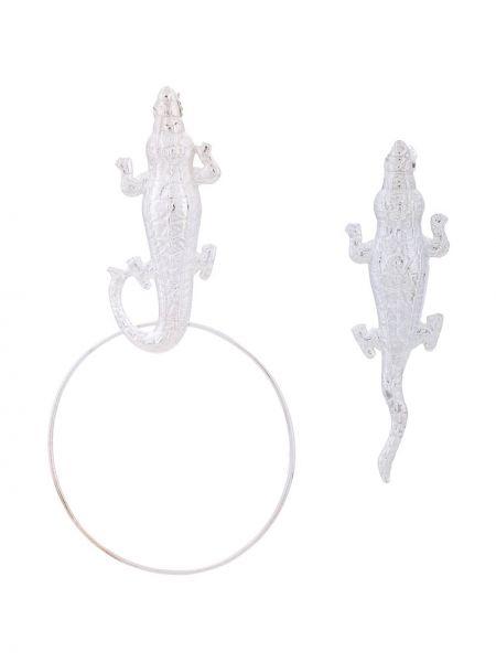 Золотистые серьги золотые из крокодила Natia X Lako