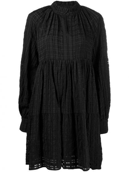Черное платье мини на пуговицах с воротником трапеция Stine Goya
