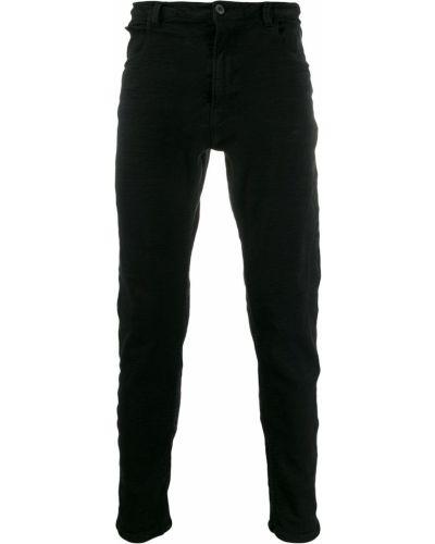 Черные зауженные брюки на пуговицах с карманами бязевые Poème Bohémien