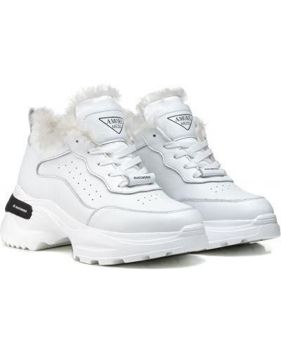 Кроссовки с мехом - белые Ditas