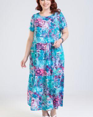 Повседневное с рукавами летнее платье из штапеля с карманами прима линия