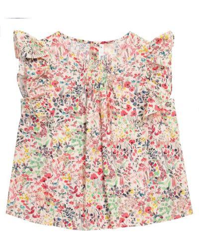 Ватная хлопковая блузка в цветочный принт Bonpoint