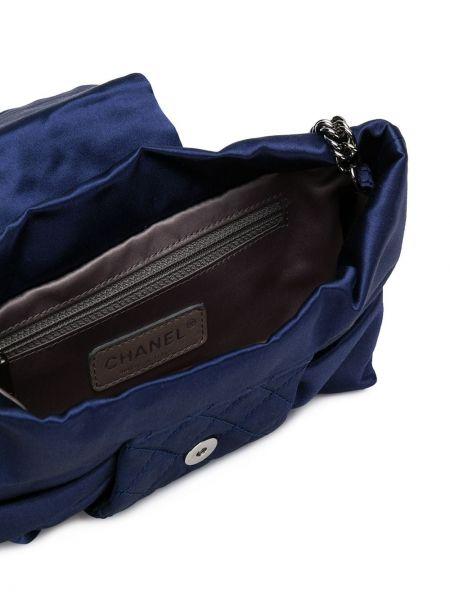 Синяя шелковая стеганая сумка на плечо на молнии Chanel Pre-owned