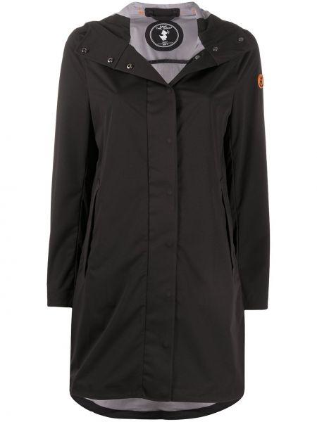 Черное пальто классическое с капюшоном с нашивками Save The Duck