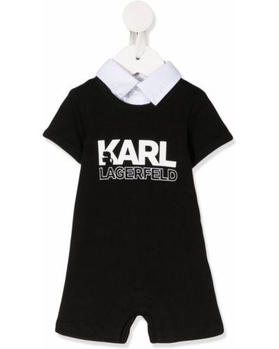 Хлопковый с рукавами черный ромпер с воротником Karl Lagerfeld Kids