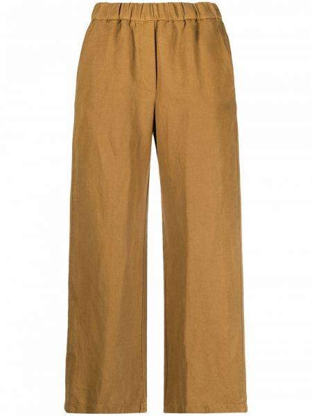 Льняные коричневые укороченные брюки с карманами Diega