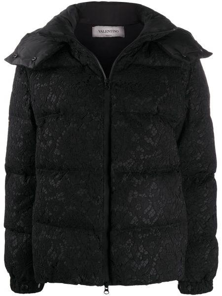 Куртка с капюшоном черная на молнии Valentino