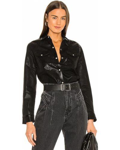 Кожаная черная джинсовая рубашка с карманами Allsaints