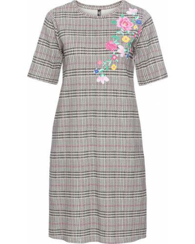 Платье с цветочным принтом в клетку Bonprix