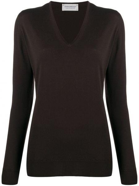 Коричневый шерстяной пуловер с V-образным вырезом John Smedley