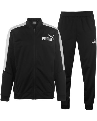 Klasyczny prążkowany czarny dres Puma