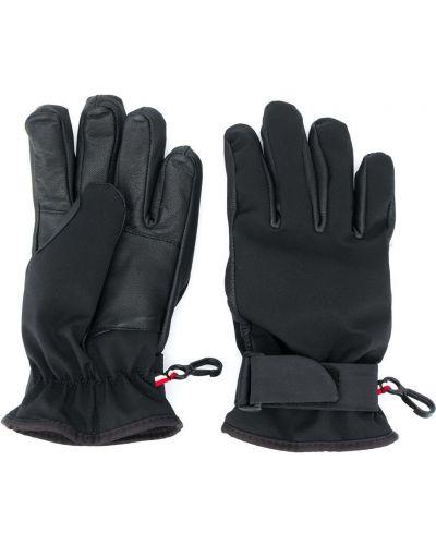 Кожаные черные перчатки с нашивками Moncler Kids